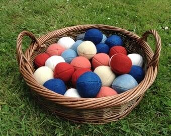 Handmade wool balls, medieval toy, reenactment, juggling balls