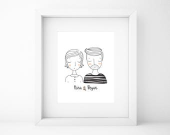 Custom Couple Illustration/Couple Portrait/Custom Family Portrait/Family Illustration/Wall Art/Printable Wall Art/Wall Art Print/Wall Decor