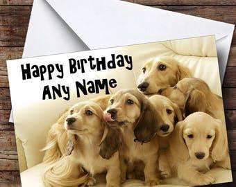 Dachshund Puppy Dogs Personalised Birthday Card