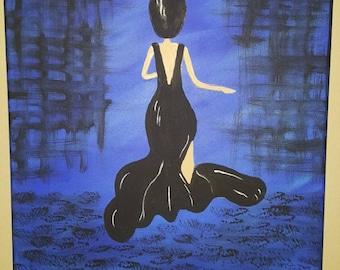 Woman Silhouette Blue