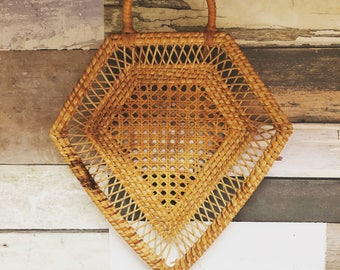 Vintage Pentagon Shaped Basket // VTG Basket // Unique Wall Basket // boho decor