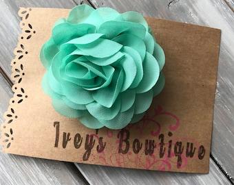 Large teal chiffon flower hair clip