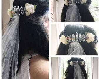 Rainbow Wrapped Crystal Hair Comb