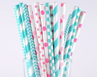Turquoise/Pink Mix Paper Straws - Party Decor Supply - Cake Pop Sticks - Party Favor