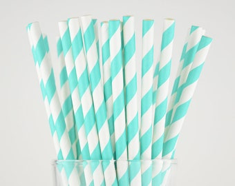 Turquoise Color Striped Paper Straws - Mason Jar Straws - Party Decor Supply - Cake Pop Sticks - Party Favor