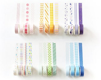 Set of 4 Rolls Striped/Dots/Checkered/Chevron/Triangle Washi Tape - 15mm x 7m - Gift Wrapping - Decorative Tape - Scrapbooking Sticker