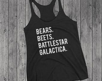 Bears Beets Battlestar Galactica Tank Top | The Office Tank | The Office Shirt | Graphic Tank |