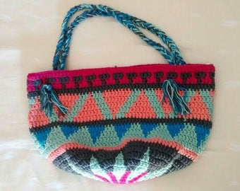 100% cotton jacquard pattern crochet purse