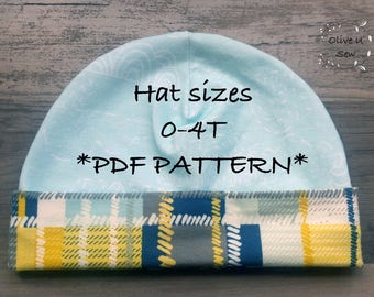 Hat Pattern 0-4T, PDF Hat, Kids Hat, toddler hat, baby hat, kids hat PDF Pattern, Child Hat pattern sewing, baby hat pattern, pdf pattern