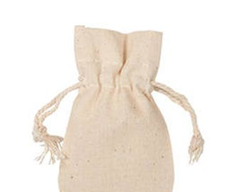 50-Natural Cotton Pouches 2x3 Inch