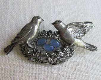 Love Birds with Blue Eggs in a Nest - Designer Signed Pewter - Seagull Canada - Etain Zinn
