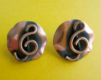 Vintage Copper Treble Clef Earrings - Moderne 60s - G Clef