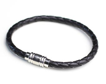 Viking men genuine leather black braided clasp bracelet magnetic