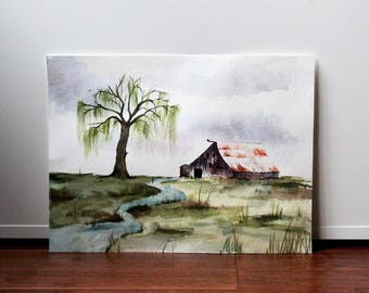 Simple farmhouse watercolour, watercolour landscape, 9 x 12 inch
