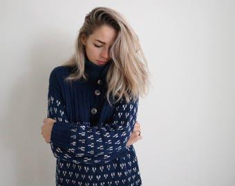 Deep Blue Nordic Sweater
