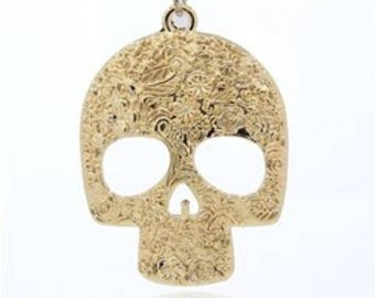 Large Gold Skull Pendant. 66mm. Day of the Dead