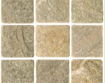 Pack of 10 light cream green stone effect mosaic tile stickers transfers, with added gloss affect, just peel and stick, bathroom kitchen