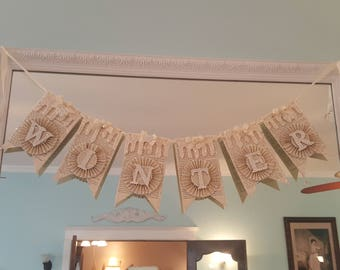 Vintage Winter Banner Party Decoration Ivory White Glitter Winter Banner