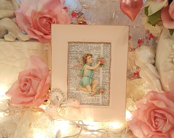 Vintage Shabby Chic Pink Wood Frame Victorian Cherub Framed Art Love Cupid With Glitter Wings and Pink Roses Valentine Gift Decoration
