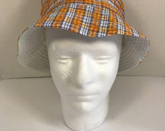 Handmade blue and orange plaids checkers bucket hat