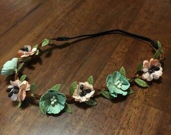Floral Headband - Teal/Peach