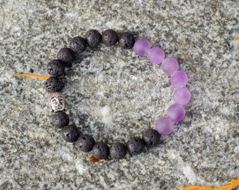 Amethyst Lava Rock Diffuser Bracelet, Natural Matte Stones, Buddha Charm Bracelet, Aromatherapy Diffuser Jewelry