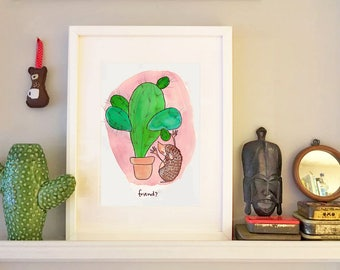 Friend?- Cactus and hedgehog A5 Giclée Print