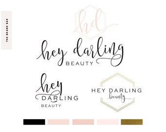 Logo Design | Branding Kit | Photography Beauty Logo & Watermark, Geometric Logo, Gold Logo, Hexagon Logo, Blush Logo, Gold Branding Package