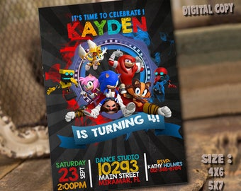 Sonic the Hedgehog Invitation / Sonic the Hedgehog Birthday / Sonic Party / Sonic Card / Sonic Printable / Sonic the Hedgehog / Sonic_BS108