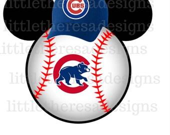 Chicago Cubs Baseball Mickey Head,Digital Transfer,Digital Iron On,Diy