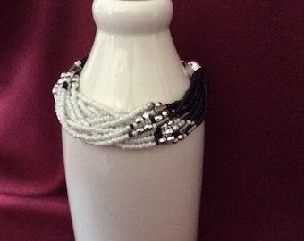 Black & White Seed Bead Bracelet / Multi Strand Seed Bead Bracelet / 12 strand Seed Bead Bracelet