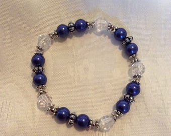 Royal Blue Glass Pearl Bracelet, Blue Glass Pearl and Clear Faceted Bracelet, Stretch Glass Pearl Bracelet