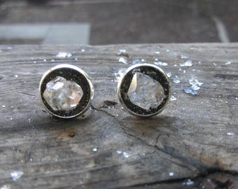 Herkimer Diamond Earrings,Diamond Stud Earrings Herkimer Diamond Studs, Herkimer Earrings, Diamond Earrings, April birthstone earrings