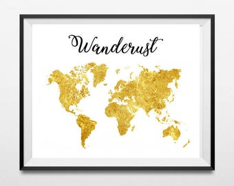Wanderlust, Instant Download Digital Printable Wall Art, Black and White Typography, Gold Foil Texture