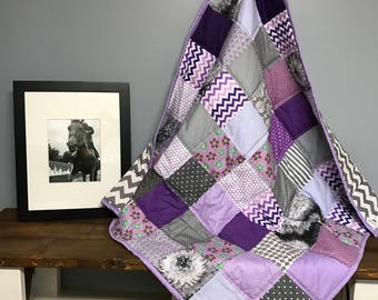 Baby Quilt Handmade - Purple and Gray, quilt, baby quilt, nursery bedding, baby bedding, baby shower gift, baby quilt for sale
