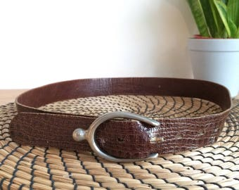 Vintage Mock Croc Leather Belt with Wishbone Buckle