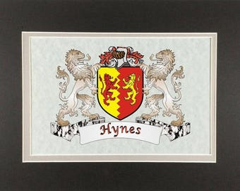 "Hynes Irish Coat of Arms Print - Frameable 9"" x 12"""