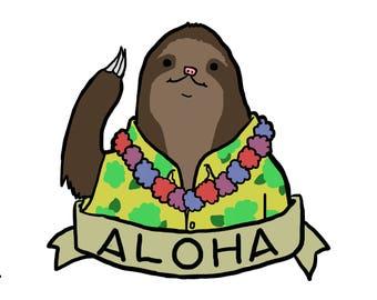 Aloha sloth print