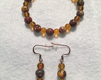 Beaded Bracelet, Set, Elastic, Glass Beads, Nickel Free Earrings.