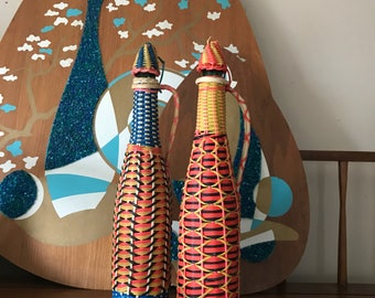 Vintage 1960's Plastic Wicker-Wrapped Wine Bottles