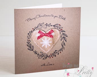 Rustic Wooden Heart Christmas Card - To you Both