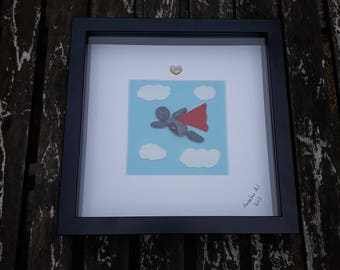Daddy Superhero pebble art, Framed my hero, Father's Day pebble picture, Father birthday gift, Framed art, Unique present, Personalised gift