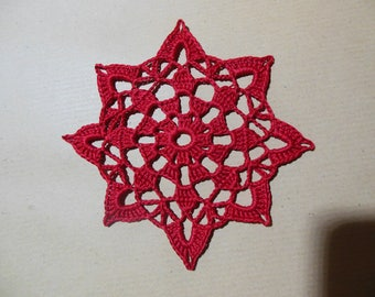 "Red crochet lace doily ""Laos"""
