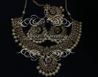 Bridal Glory -Pearl Necklace with Matching Tikka And Earrings