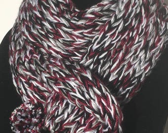 Super soft and chunky maroon and monochrome scarf