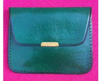 Green leather coin purse
