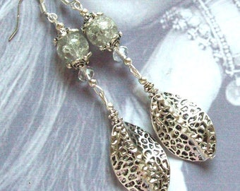 Clear Crackle glass beads silver plated earrings