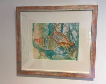 FRAMED and matted Giclee shell SH1 17x15