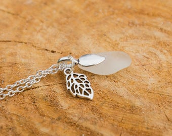 Small clear seaglass pendant
