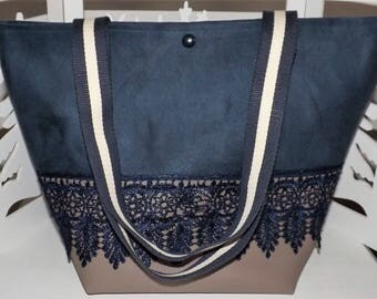 Handmade Bohemian handbag: linen, suede and faux leather